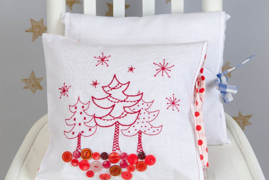 Small holiday-themed pillow.