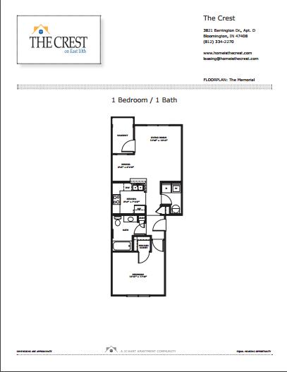 The Memorial 1 Bedroom Floor Plan City Flats On Tenth